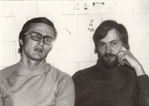 Константин Ильницкий и Вячеслав Игрунов на кухне у Ольги Ильницкой. Около 1982 года