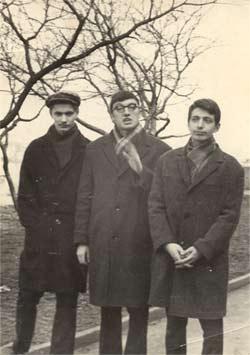 Слева направо: Вячеслав Игрунов, поэт Анатолий Гланц, Алик Феллер. 1967 - 1968гг.